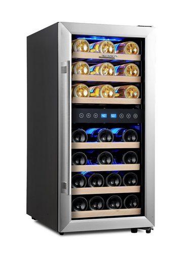 kalamera Weinkühlschrank KRC-33BSS, für 33 Standardflaschen á 0,75l,2 zonen