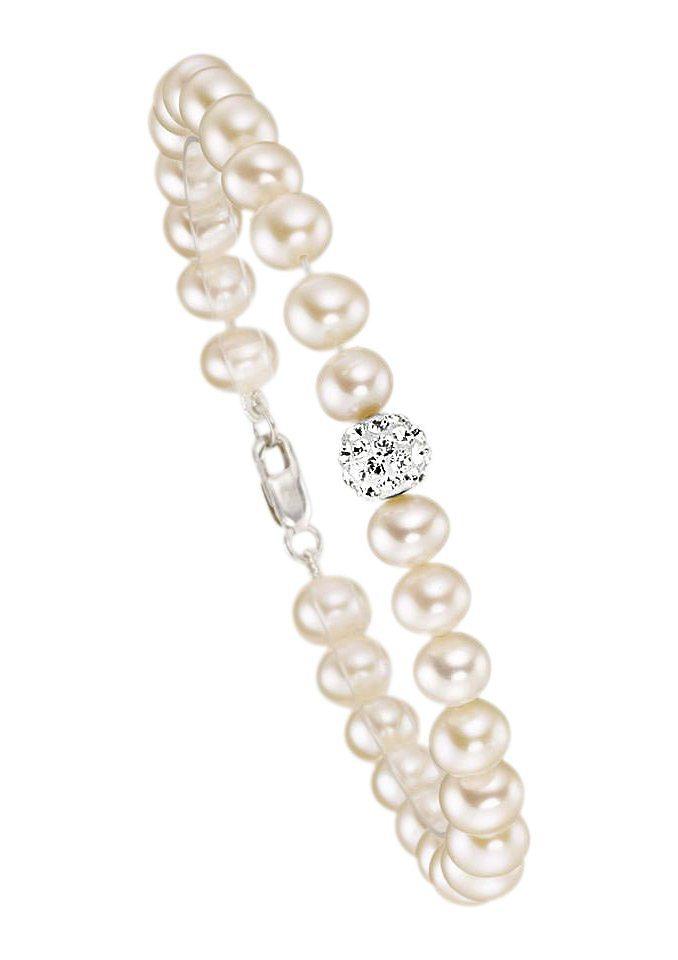 firetti Armschmuck: Armband mit Perlen und Zirkonia - perfekt als Brautschmuck! in silberfarben