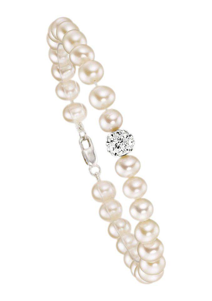firetti Armschmuck: Armband mit Perlen und Zirkonia - perfekt als Brautschmuck!