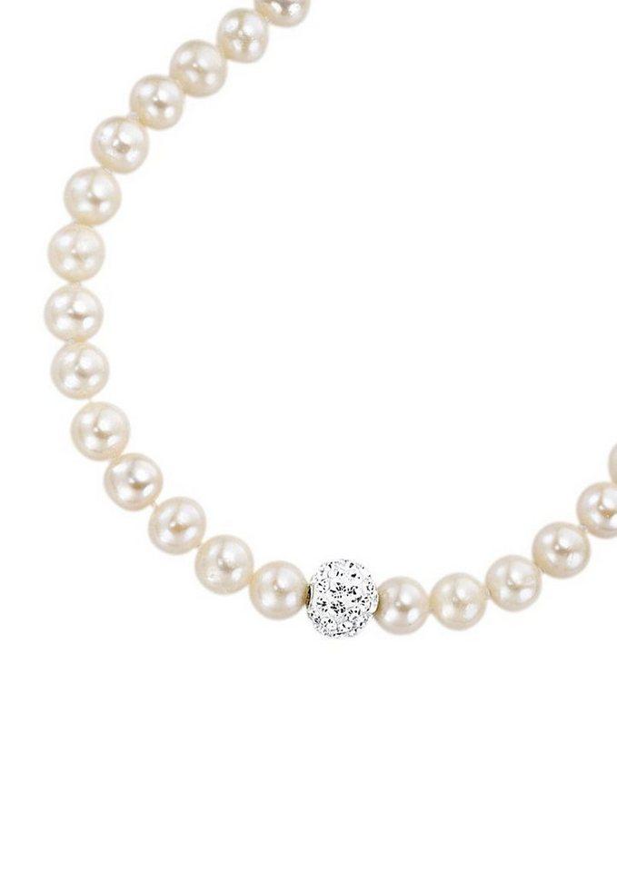 firetti Halsschmuck: Collier/Kette mit Perlen und funkelnden Zirkonia - perfekt als Brautschmuck! in silberfarben