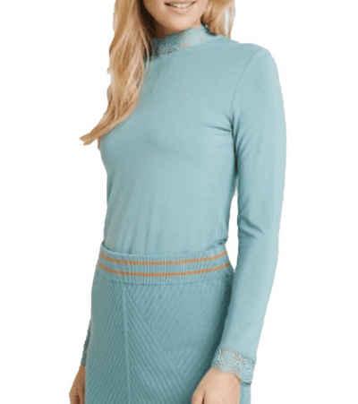 NOA NOA Longsleeve »ESSENTIAL by NOA NOA Langarm-Shirt weiches Damen Jersey-Shirt Basic-Shirt Mint«