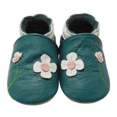 Yalion »Weiche Leder Krabbelschuhe Lauflernschuhe Hausschuhe Lederpuschen 2-Blumen Türkis 100% Leder« Krabbelschuh
