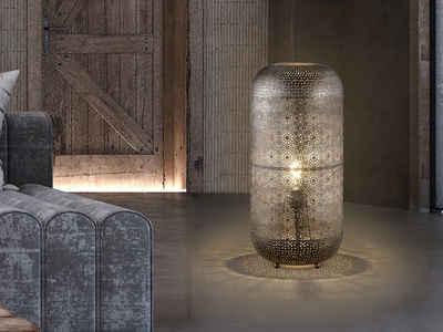 FISCHER & HONSEL LED Hockerleuchte, orientalische Design Bodenleuchte innen, große marokkanische Tisch-Lampe für offene Galerie & ausgefallene Wintergarten Beleuchtung, Vintage Lampen-Schirm Silber