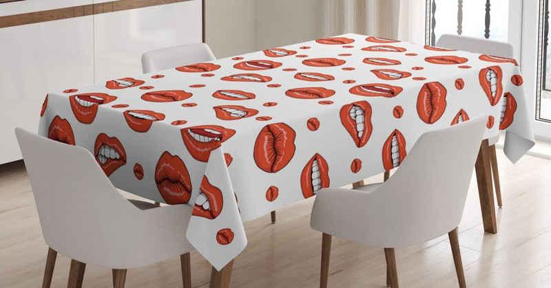 Abakuhaus Tischdecke »Personalisiert Farbfest Waschbar Für den Außen Bereich geeignet Klare Farben«, rot Frau Lippen mit Gestures