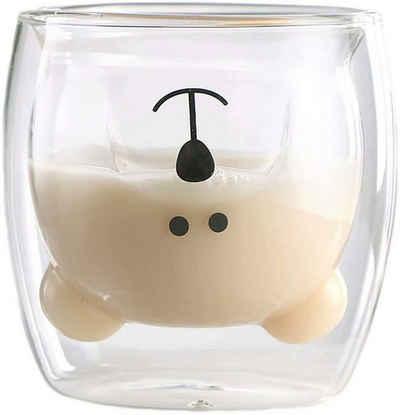 Favson Espressotasse »Tassen KaffeeTeegläser Trinkgläser Kaffeeglas Doppelwandige Isoliergläser Espressotasse Bär Katze Becher (Glücklicher Bär)«, Glas
