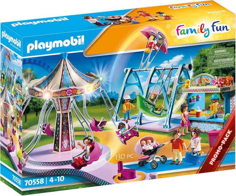 Playmobil® Konstruktions-Spielset »Großer Vergnügungspark (70558), Family Fun«, (130 St), mit Lichteffekten
