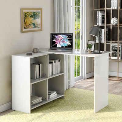 Flieks Eckschreibtisch »Komfort« (1-St), Computertisch Winkelschreibtisch Bürotisch Gaming Tisch mit offenen Regale zur Aufbewahrung