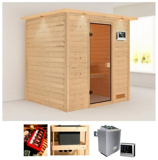 Karibu Sauna »Anja«, BxTxH: 224 x 184 x 202 cm, 38 mm, 9 kW Ofen mit ext. Steuerung, Dachkranz
