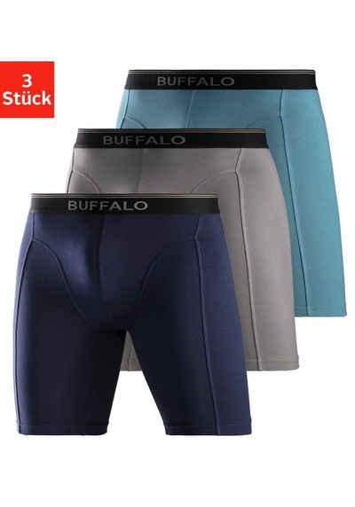 Buffalo Boxer (3 Stück) in langer Form mit Logodruck im Webbund