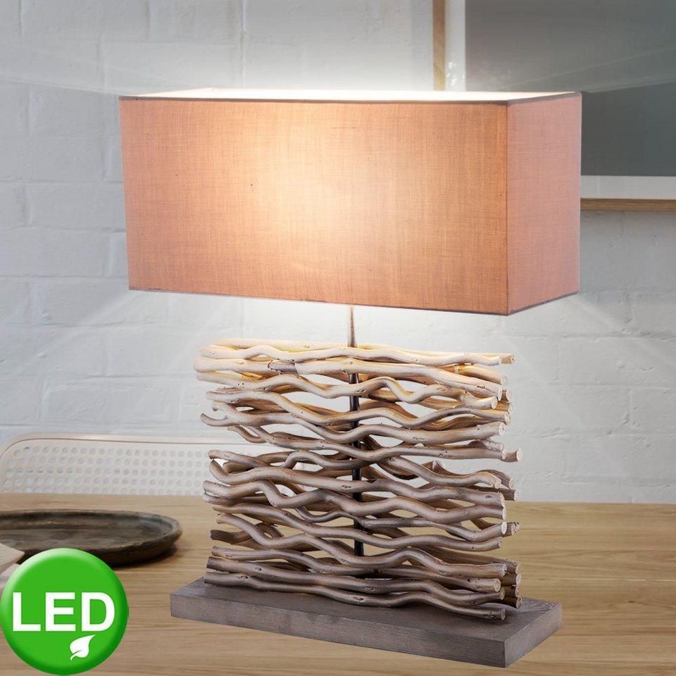 etc shop Tischleuchte, Schreib Nacht Tisch Lampe Wohn Ess Schlaf Zimmer  Beistell Leuchte Textil Holz Strahler im Set inkl. LED Leuchtmittel online  ...