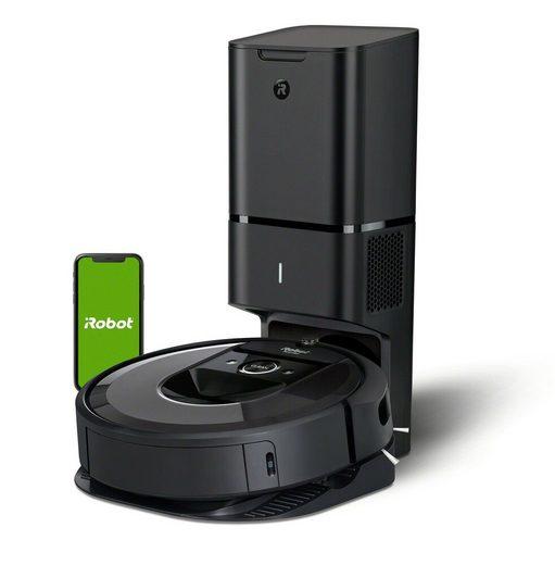 iRobot Saugroboter Roomba i7+, App-Steuerung, Hochleistungsfilter, 3 Reinigungsstufen, 75 Min. Laufzeit, 0,4 Liter Behältervolumen, Clean Base Automatische Absaugstation