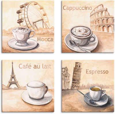 Artland Leinwandbild »Mocca Cappuccino Café au lait Espresso«, Getränke (4 Stück)