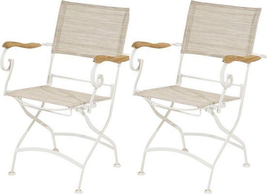 PLOSS Gartenstuhl »Rom«, (2er Set), mit Armlehnen, klappbar, Eisen/Textil