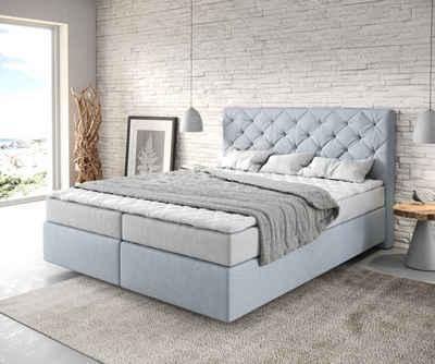 DELIFE Boxspringbett »Dream-Great«, Flachgewebe Pastellblau 160x200 mit Matratze und Topper