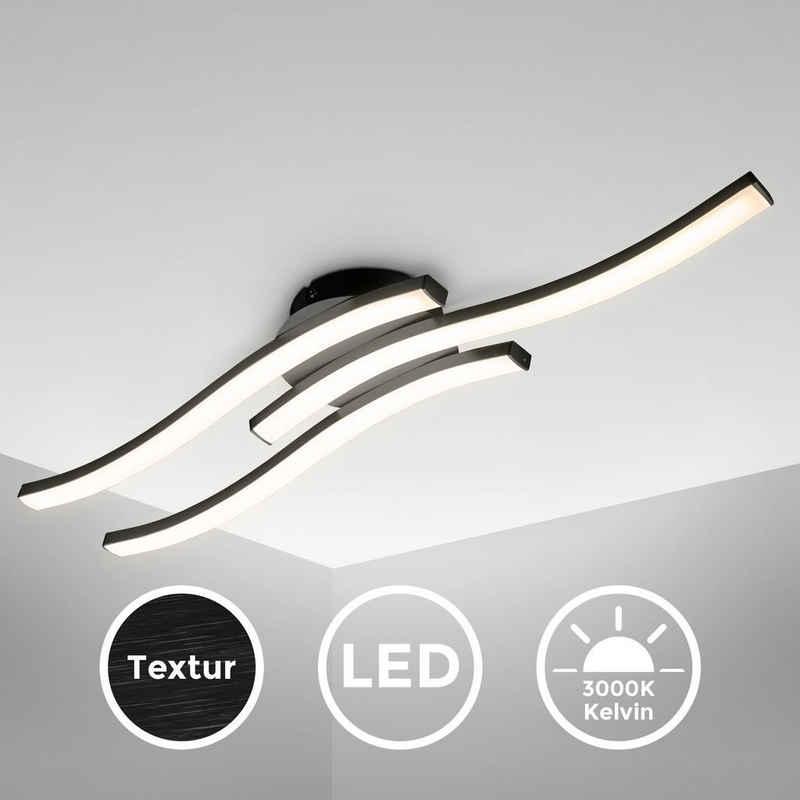 B.K.Licht Deckenleuchte, LED Deckenlampe, 3-flammig, 3.000K Warmweiß, 3x 6 Watt, 3x 480 Lumen, Schwarz, Acrylweiß, Wellenförmig, Geschwungen, Länge: 56.5cm