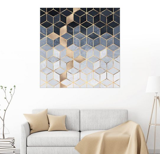 Posterlounge Wandbild, Soft Blue Gradient Cubes