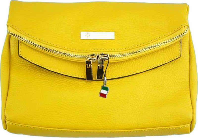 FLORENCE Clutch »OTF803Y Florence 2in1 Damen Abendtasche«, Damen Tasche aus Echtleder in gelb, ca. 24cm Breite, Made-In Italy