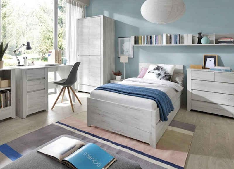Feldmann-Wohnen Jugendzimmer-Set »ANGEL«, (Set, 6-St., 1 Kleiderschrank + 1 Schreibtisch mit Container + 1 Wandregal + 1 Nachttisch + 1 Bett mit Ausziehfunktion + 1 Sideboard)