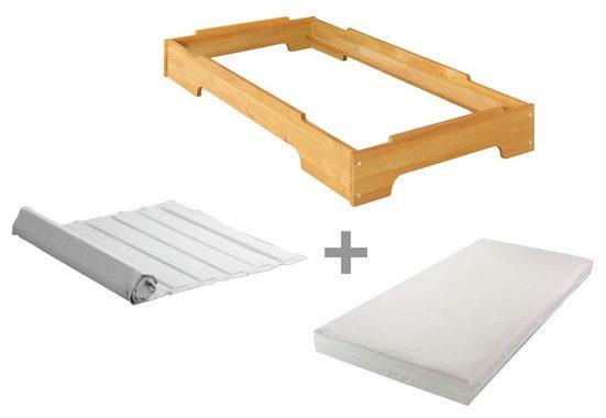 BioKinder - Das gesunde Kinderzimmer Stapelbett »Kai«, 70x140 cm Gästebett mit Lattenrost und Matratze