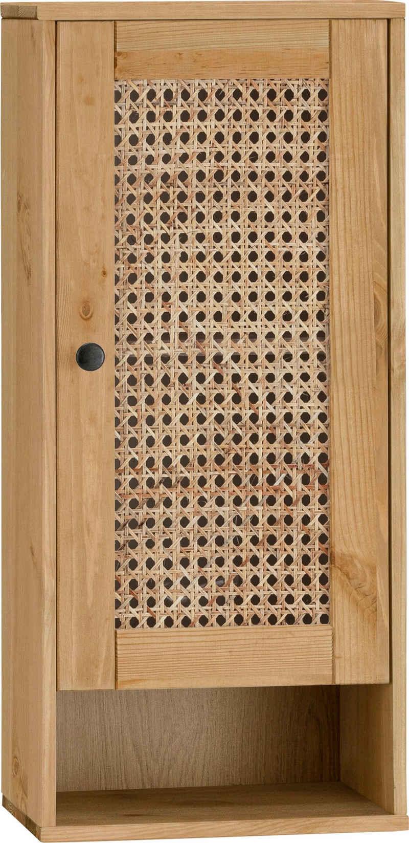 Home affaire Hängeschrank »Roan« aus Kiefer massiv mit Rattan-Einsatz, Breite 32 cm