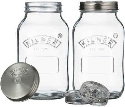 KILNER Aufbewahrungssystem, Glas, (Set, 2-tlg), (Fermentier-Set), zum Konservieren von Gemüse, wie Sauerkraut, Kimichi und Rotkohl, á 1 Liter