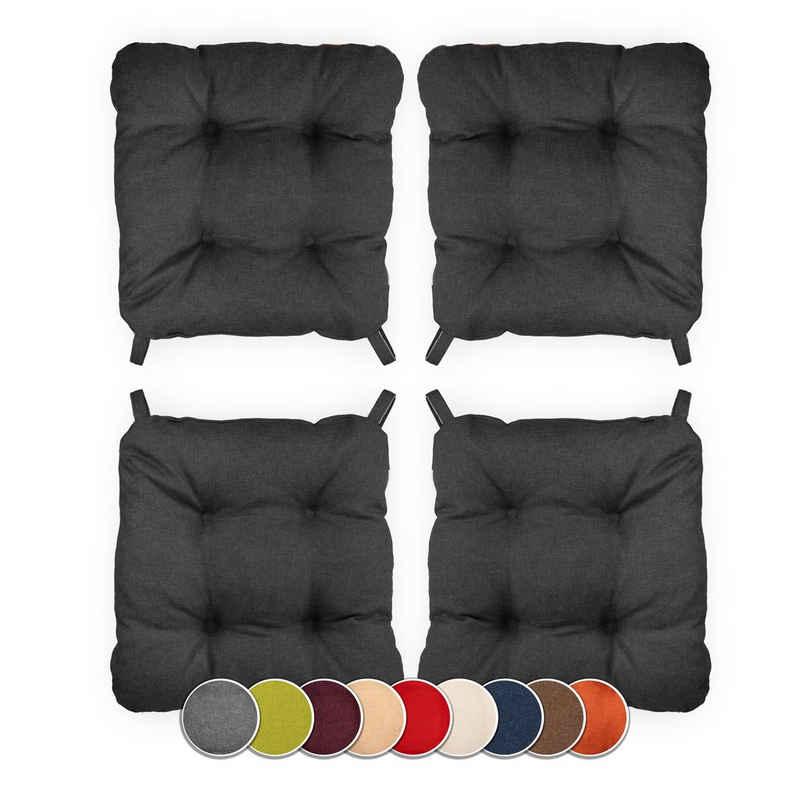 sunnypillow Stuhlkissen »4er Set Stuhlkissen mit Klettverschluss Maße: 40 (vorne), 35 (hinten) x 40 x 8 cm«