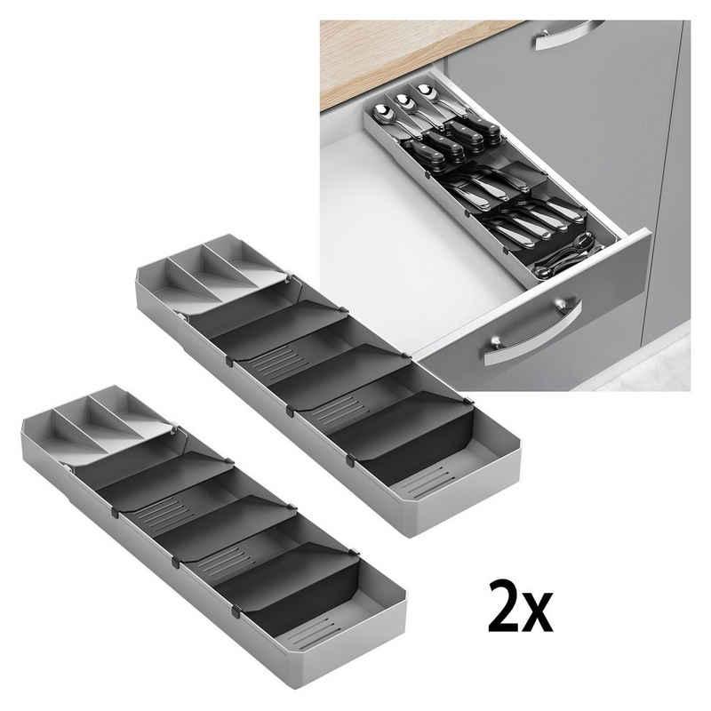 Metaltex Schubladeneinsatz (2 Stück), ausziehbar, für bis zu 90 Besteckteile