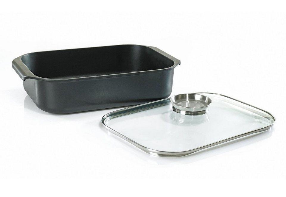 Aromabräter, mit Glasdeckel und Aromaknopf, Krüger, »DELTA« in schwarz