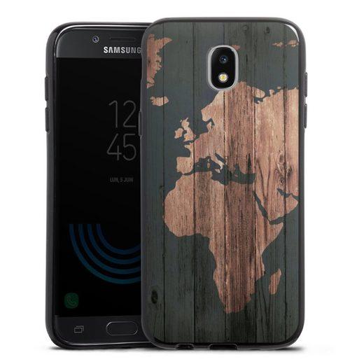 DeinDesign Handyhülle »Wooden World Map« Samsung Galaxy J5 (2017), Hülle Landkarte Holzoptik Vintage