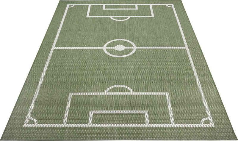 Kinderteppich »Fußballfeld«, Lüttenhütt, rechteckig, Höhe 3 mm, Fußball, Spielteppich, In- und Outdoor geeignet