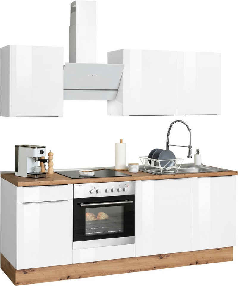RESPEKTA Küchenzeile »Safado«, mit 2 E-Geräte-Sets zur Auswahl, hochwertige Ausstattung wie Soft Close Funktion, schnelle Lieferzeit, Breite 220 cm