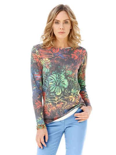 Amy Vermont Rundhalspullover mit floralem Muster allover