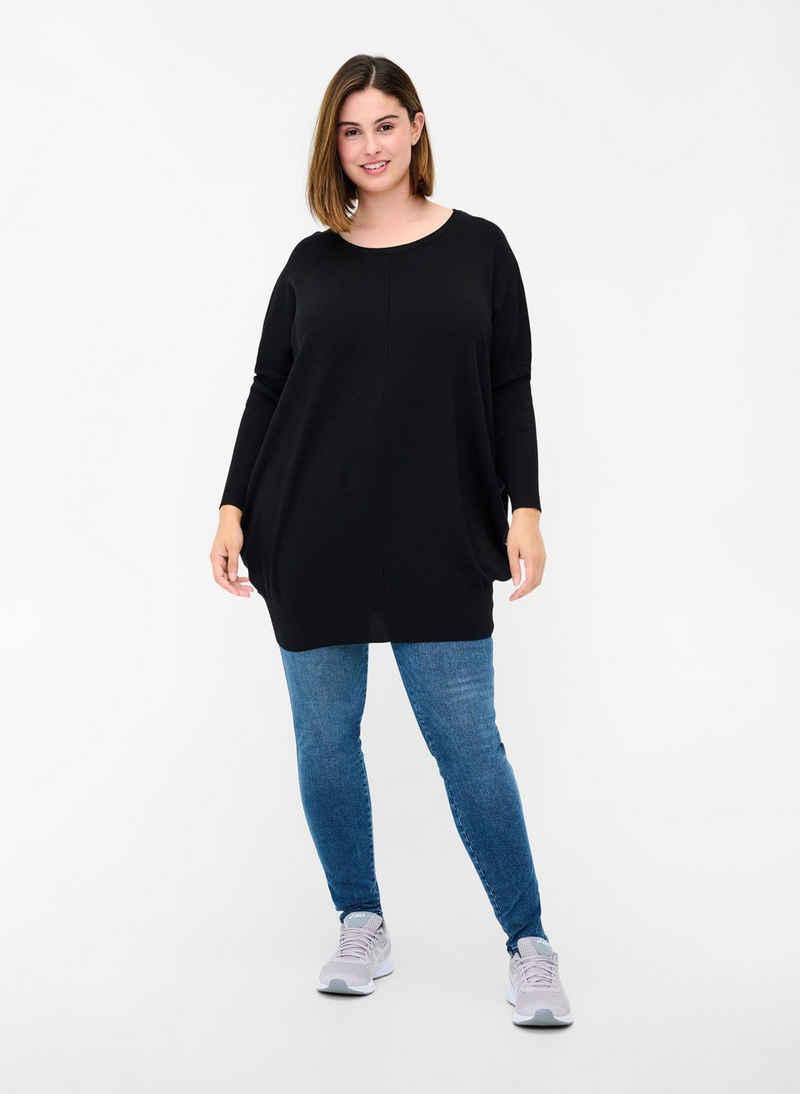 Zizzi Strickpullover Damen Große Größen Strickpullover Langarm Strick Basic Pullover