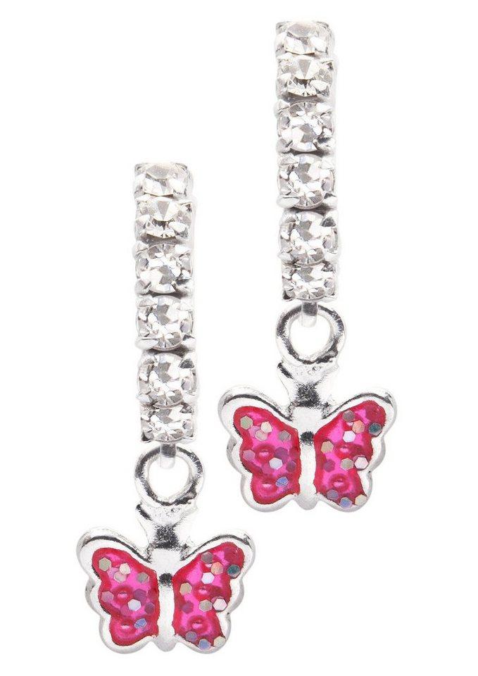 firetti Ohrschmuck: Paar Ohrstecker »Schmetterling« mit Swarovski-Kristallen in silberfarben