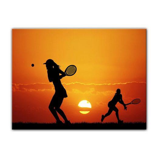 Bilderdepot24 Leinwandbild, Leinwandbild - Silhouette - Tennis