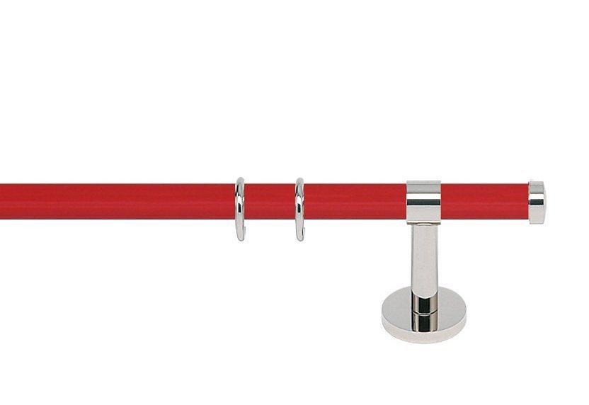 Gardinenstange, «Consul 20 Hochglanz«, nach Maß in rot hochglanz/nickel-glanz