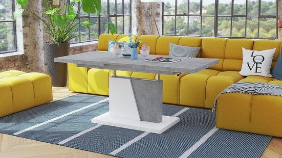 Mazzoni Couchtisch »Design Couchtisch Tisch Grand Noir Beton Betonoptik / Weiß matt stufenlos höhenverstellbar ausziehbar 120 bis 180cm Esstisch«