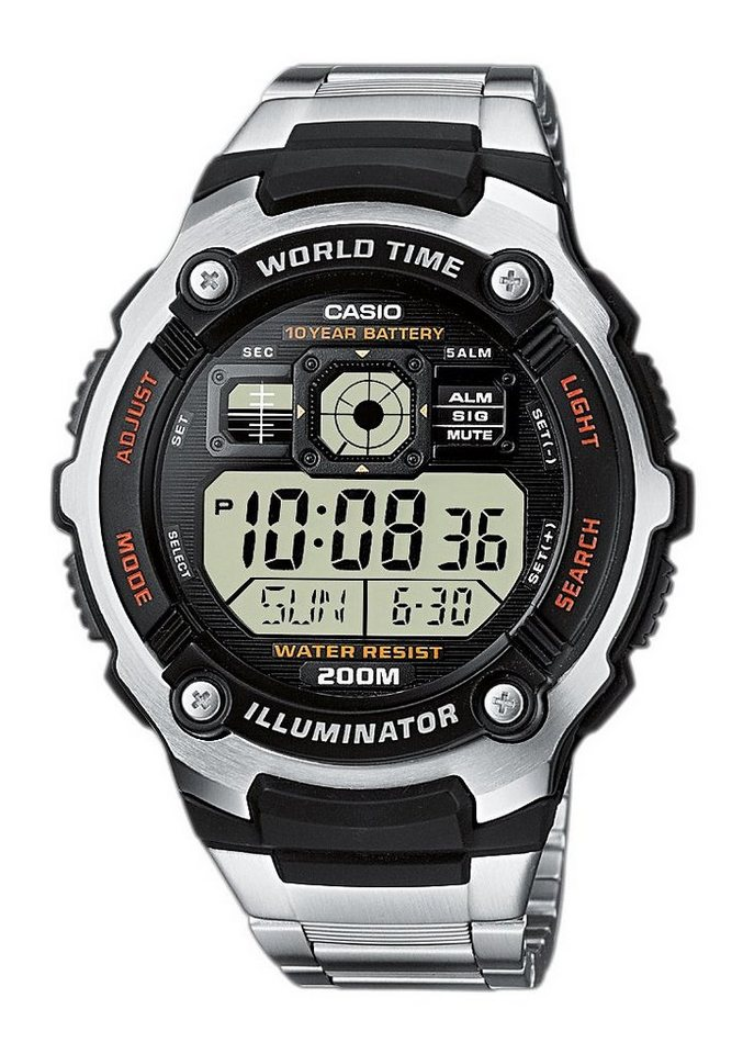 """Casio Collection, Armbanduhr, """"AE-2000WD-1AVEF"""" in silberfarben"""