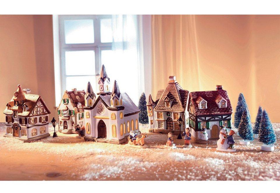 SET: Porzellan-Weihnachtsdorf in bunt