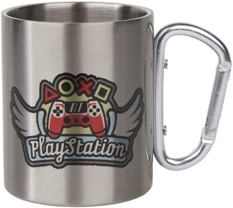 GB eye Tasse »PlayStation-Flügel Tasse mit Karabinerhaken - silber - 0,2l«