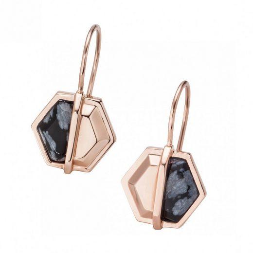 CAÏ Paar Creolen »925/- Silber rotvergoldet Hexagon Sechseck Obsidia«