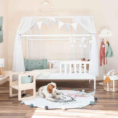 Alcube Hausbett »LINA I Kinderbett 80x160 cm«, aus massivem Kiefernholz Weiß, inklusive Rausfallschutz und Lattenrost, Hausbetten 160x80 cm für Jungen und Mädchen