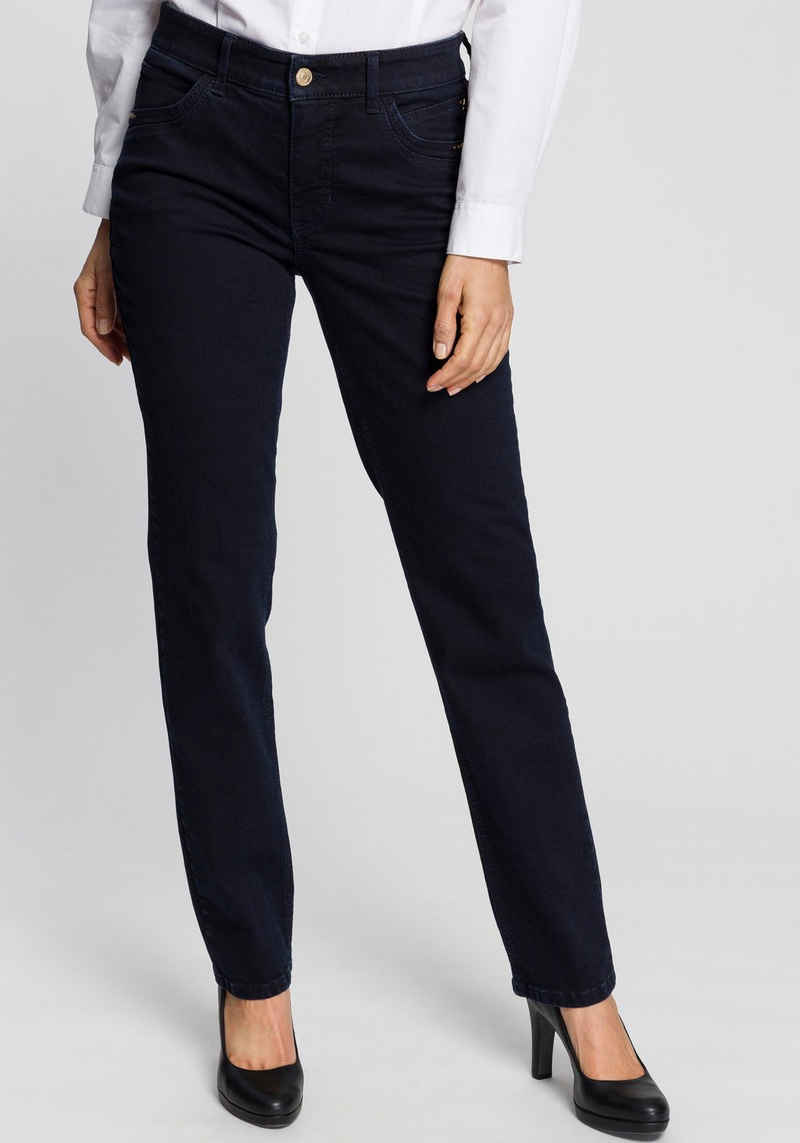 MAC Straight-Jeans »Melanie-New bright« Mit neuer Taschenlösung und Nieten an den vorderen Taschen