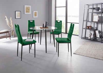 my home Essgruppe »Danny + Mandy«, (Set, 5-tlg), runder Glastisch, Ø 100 cm und 4 Esszimmerstühlen, Bezug aus Samtstoff