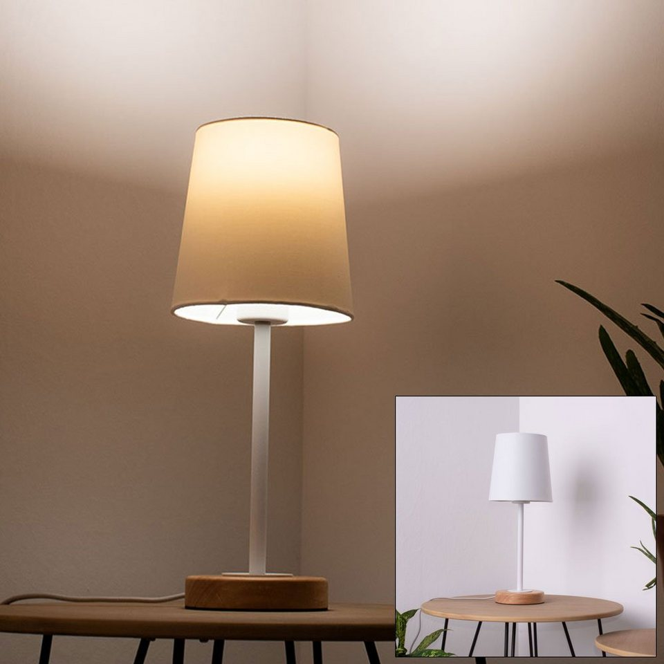 etc shop Tischleuchte, Tisch Lampe Ess Zimmer Holz Textil Beistell Leuchte  Nacht Licht im Set inkl. LED Leuchtmittel online kaufen   OTTO