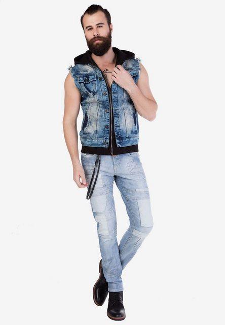 Cipo & Baxx Jeansweste »CW106« mit praktischer Kapuze   Bekleidung > Westen > Jeanswesten   Cipo & Baxx