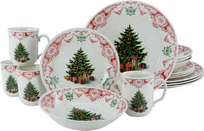 CreaTable Kombiservice »Season Greeting« (16-tlg), Steingut, traditionelles Weihnachtsmotiv