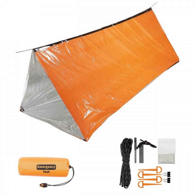FoxOutdoor Firstzelt »Notfall-Zelt, orange, einseitig alubeschichtet«, (Set, mit Transporttasche), einseitig alubeschichtet
