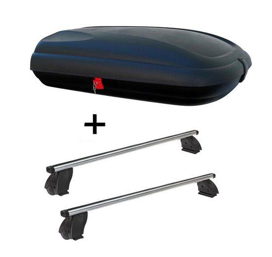 VDP Fahrradträger, Dachbox VDPBA320 320 Liter carbonlook abschließbar + Dachträger K1 PRO Aluminium kompatibel mit Fiat Idea (5Türer) ab 05