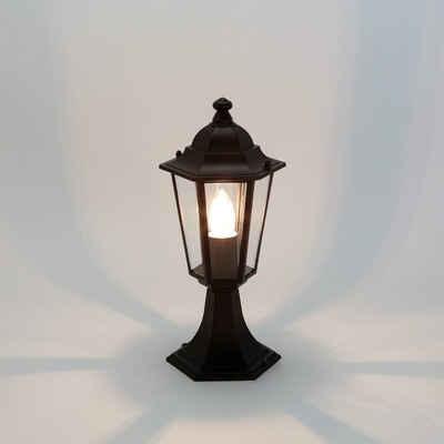 Licht-Erlebnisse Sockelleuchte »PARIS«, Wegeleuchte Landhausstil rustikal Schwarz Gartenbeleuchtung Lampe